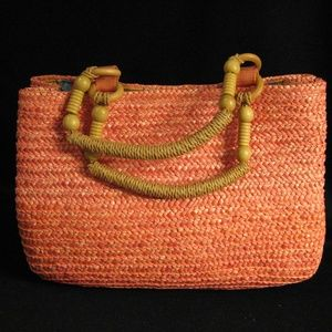 CROFT & BARROW PEACH COLORED STRAW HANDBAG NWT